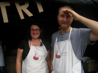 food stars Bronnwyn of Rustic Pantry and helper Tim, our favourite chef and now food grower