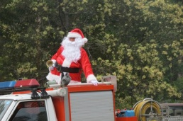 Santa arrives with bell