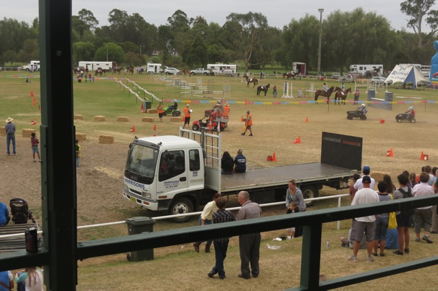 modified lawn mowers driven by youngsters racing  at the Moruya Show
