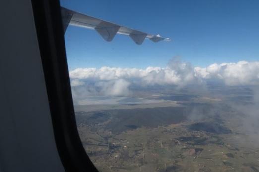 curves or aeroplane window frame views near Canberra of Lake George