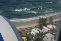 aeroplane engine curve and beach at Coolangatta