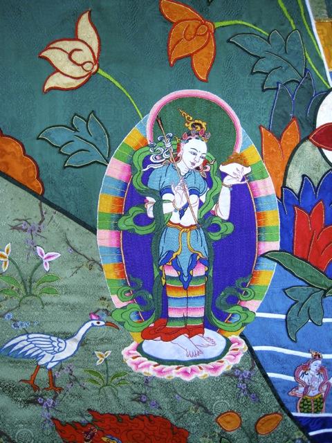 Silk embroidery depicting Mandarava, Bhutan