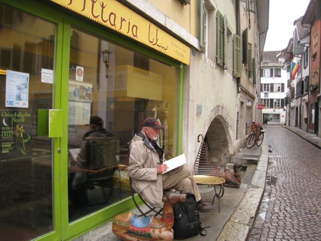 outside Samis Felafel shop