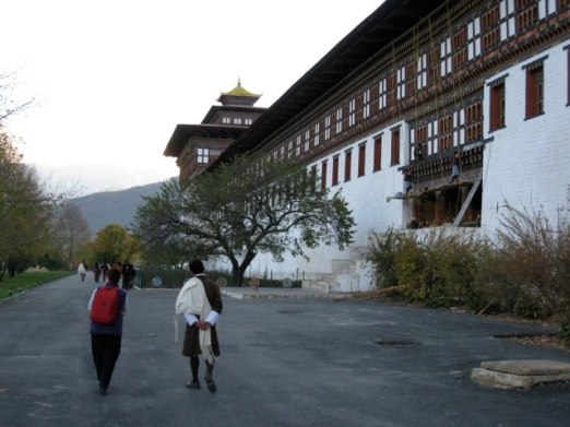 men must wear a white scarf to visit the Dzong