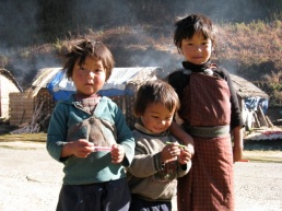 children at roadside camp