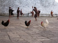 monks practising their dance for a festival