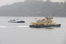 ferries in the rain