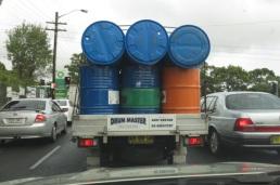 behind a load of drums