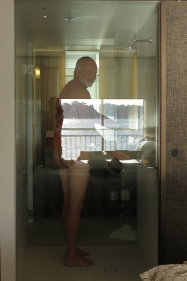 reflection screening the shower