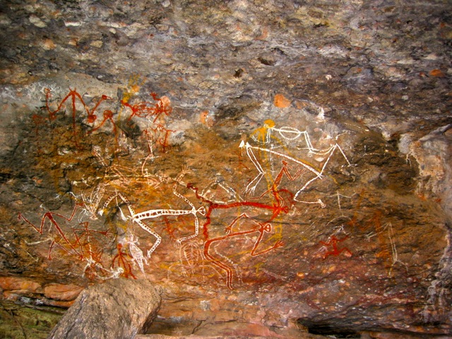 Aboriginal rock painting of Mimi spirits in the Anbangbang gallery at Nourlangie Rock