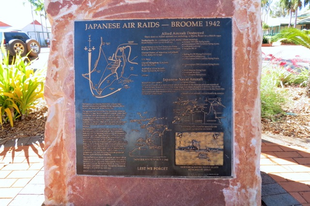 Plaque commemorating the Japanese Air Raids on Broome during WWII