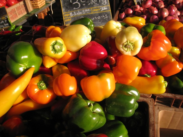capsicums at a French market stall