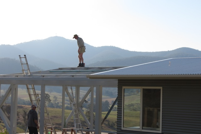working on the terrace roof
