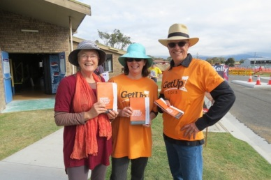 Me with Valmai and Peter, handing out for GetUp