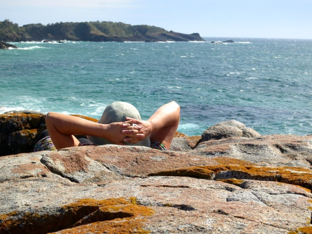 watching the ocean at Grey Rocks