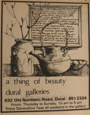 ad promoting Dural Galleries, drawn by Stuart