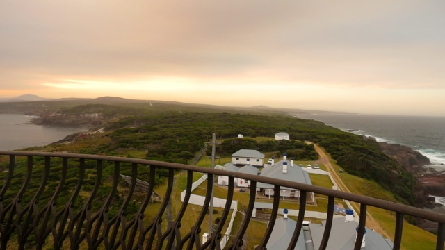 bushfire coloured skies over Green Cape Feb 2014