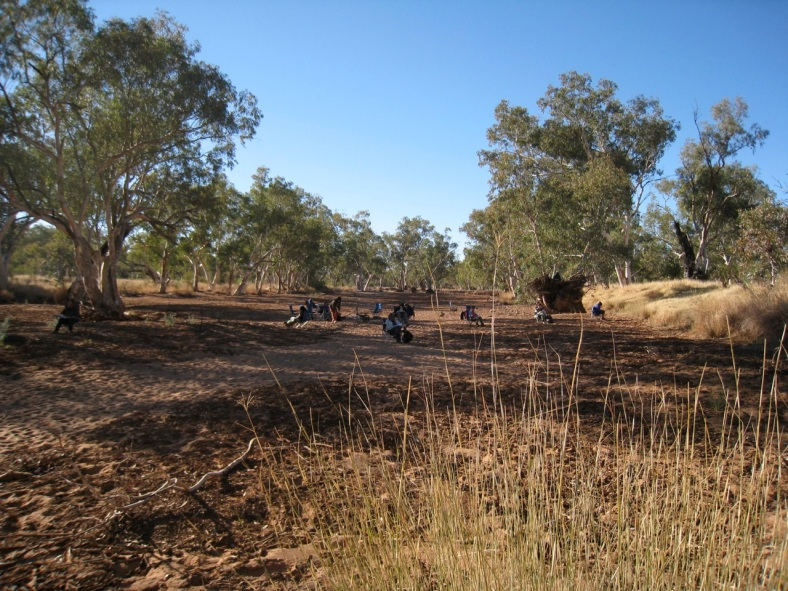 Camping in  the riverbed, Larapinta, NT