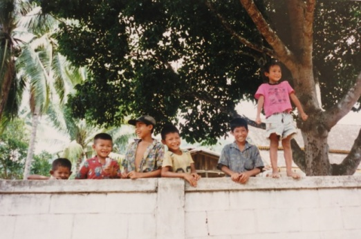 children of Ban Paktha, on the wall of the school house and wat