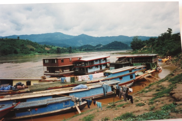 river boats on the bank, Huay Xai, Laos