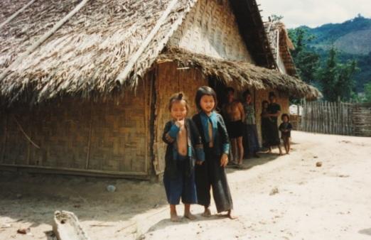 little girls, Hmong village
