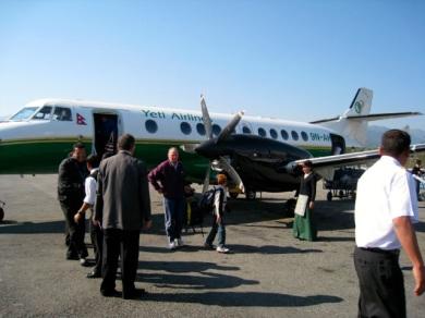 landing in Pokhara